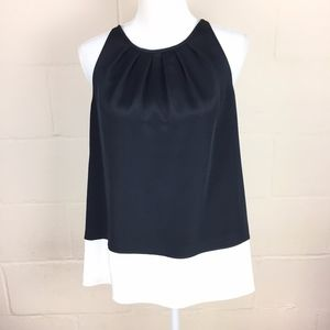 NEW theory pleated silk colorblock tank large